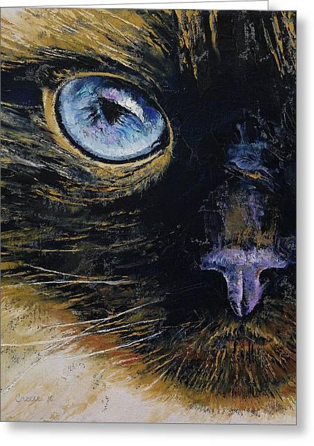 Burmese Cat Greeting Card by Michael Creese