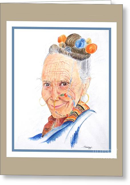 Himalayan Smile Lines -- Portrait Of Old Asian Woman Greeting Card