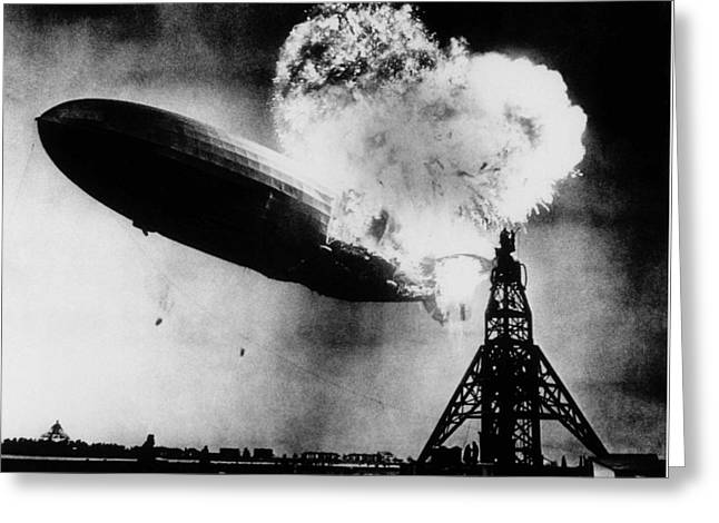 Hindenburg Disaster - Zeppelin Explosion Greeting Card