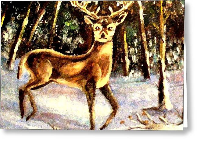 Greeting Card featuring the painting Hinds Feet by Hazel Holland