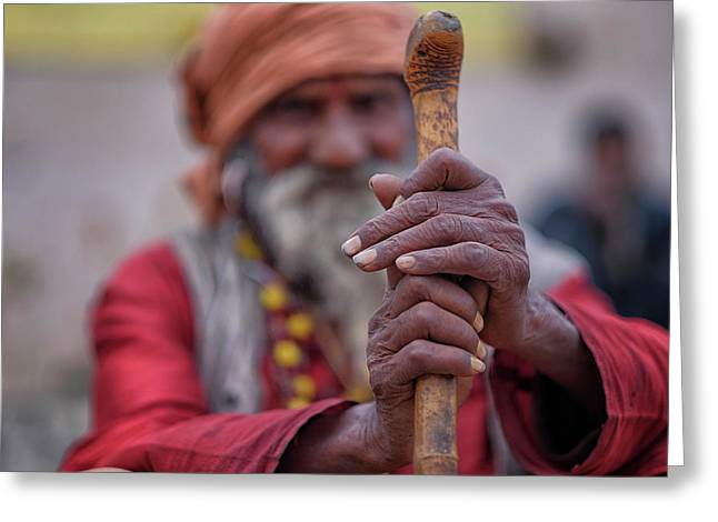 hindu Holy Man Hands Greeting Card by David Longstreath