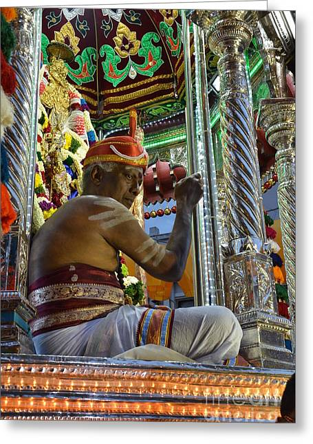 Hindu Man In Costume Sits On Vehicle For Festival Singapore  Greeting Card by Imran Ahmed