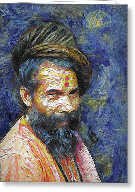 Hindu Sadhu In Van Gogh Style Greeting Card