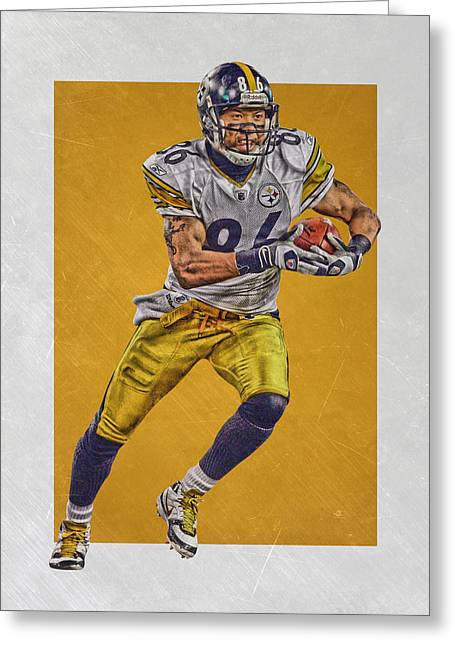 Hines Ward Pittsburgh Steelers Art Greeting Card