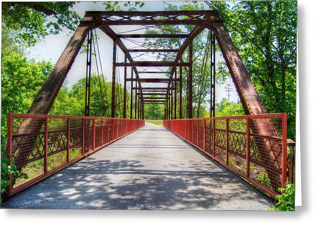 Hinkson Creek Bridge Greeting Card by Cricket Hackmann
