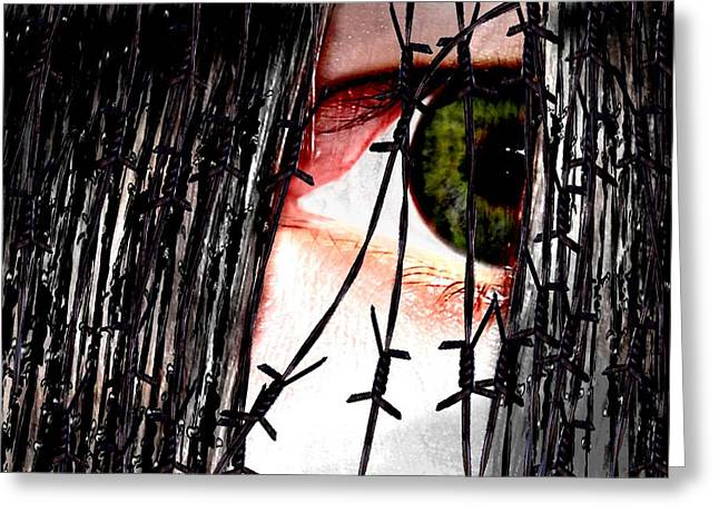 Hinterm Eisernen Vorhang Behind The Iron Curtain Greeting Card by TinaDeFortunata