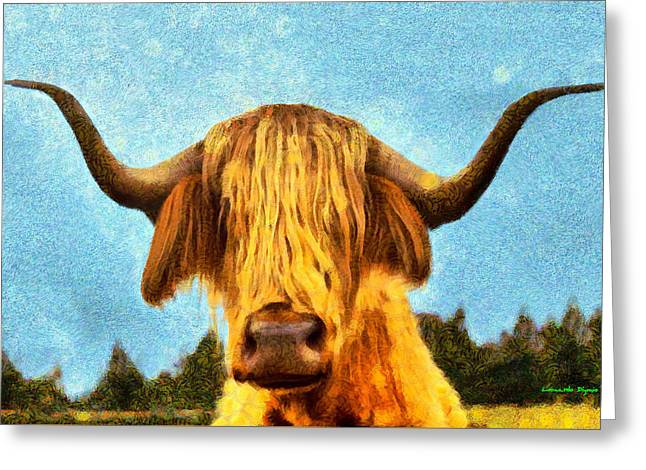 Hippie Cow - Pa Greeting Card