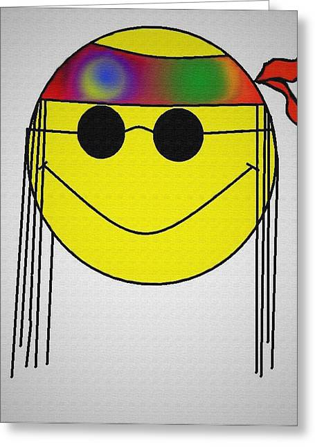 Hippie Face Greeting Card by Bill Cannon