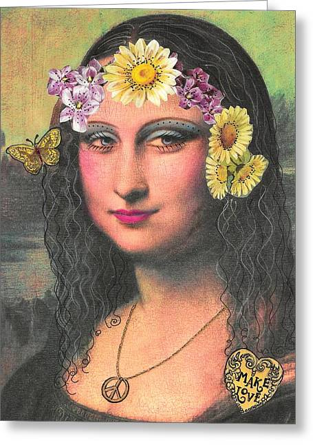 Hippie Gioconda Greeting Card by Graciela Bello