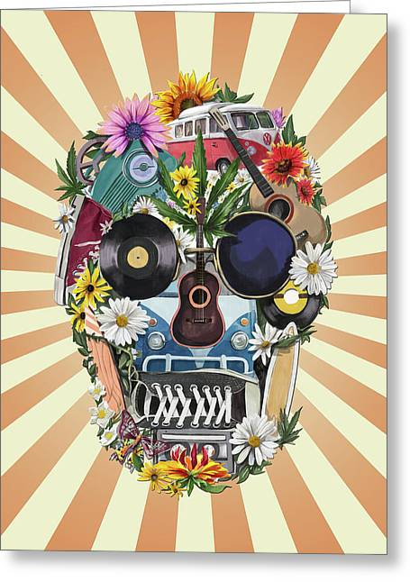 Hippie Retro Skull 2 Greeting Card