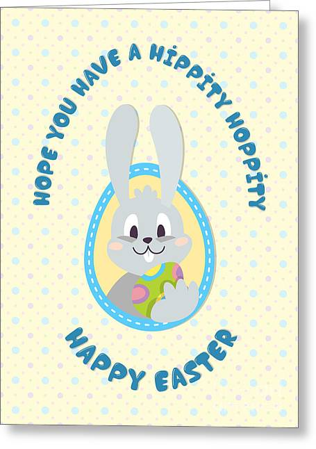 Greeting Card featuring the digital art Hippity Hoppity Easter by JH Designs