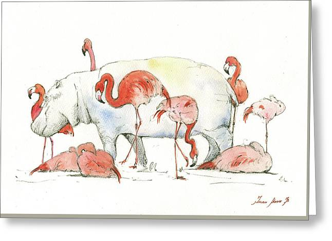 Hippo And Flamingos Greeting Card