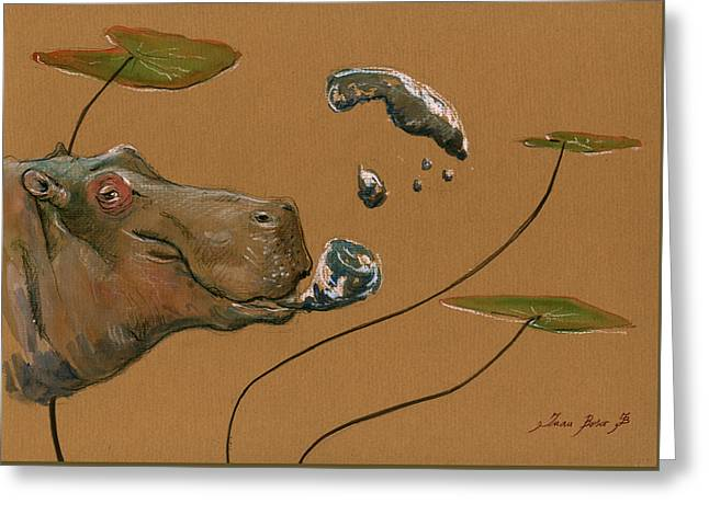 Hippo Bubbles Greeting Card by Juan  Bosco