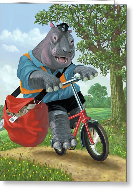 Hippo Post Man On Cycle Greeting Card by Martin Davey