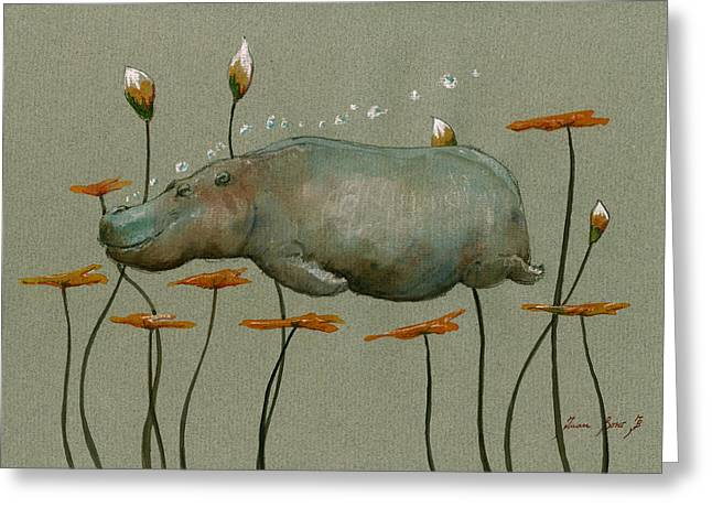 Hippo Underwater Greeting Card