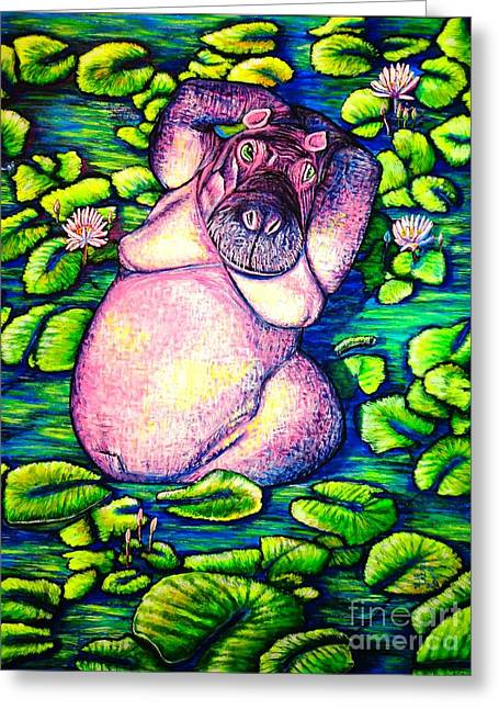 Hippo Greeting Card by Viktor Lazarev
