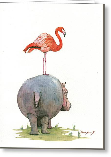 Hippo With Flamingo Greeting Card
