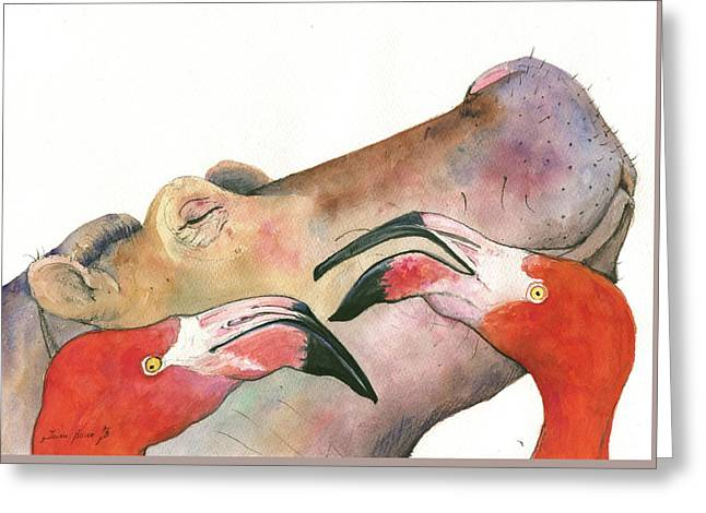 Hippo With Flamingos Heads Greeting Card