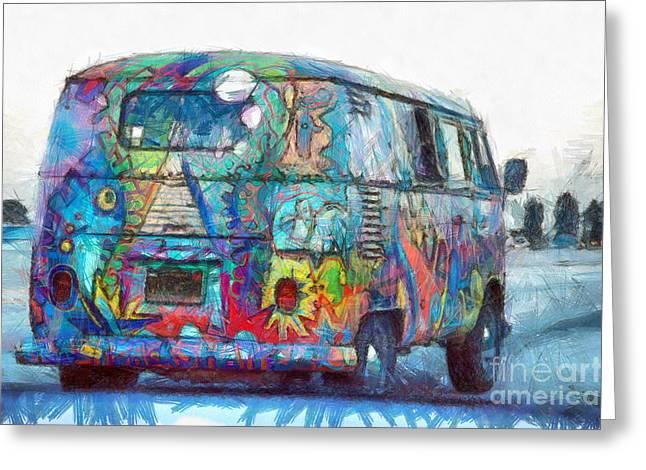 Hippy Vw Van Bus Pencil Greeting Card by Edward Fielding