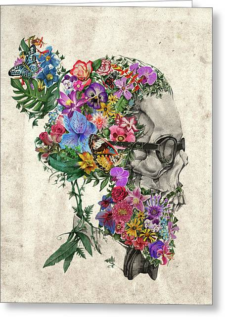 Hipster Floral Skull Greeting Card