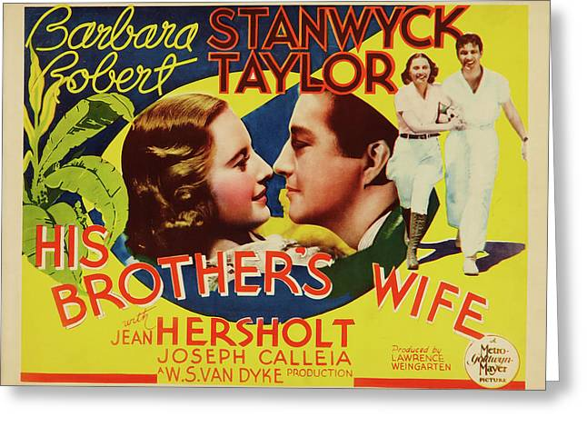 His Brother's Wife 1936 Greeting Card by M G M