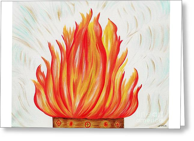 His Consuming Fire Greeting Card by Louise Drake