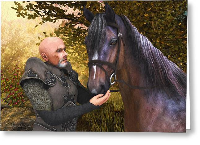 Greeting Card featuring the digital art His Noble Steed by Jayne Wilson