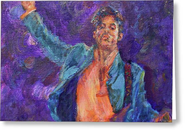 His Purpleness - Prince Tribute Painting - Original Art Greeting Card