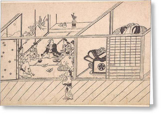 Hishikawa Moronobu    A Banquet In A Joroya Greeting Card