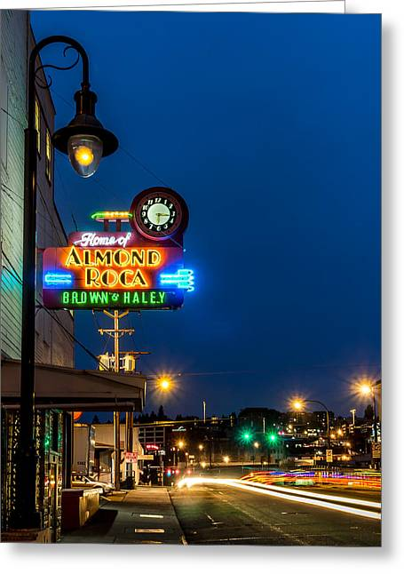 Historic Almond Roca Co. During Blue Hour Greeting Card