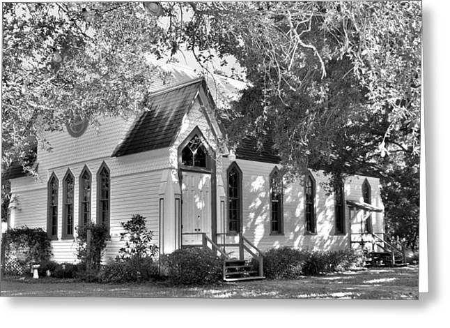 Historic Andrews Memorial Chapel Dunedin Florida Black And White Greeting Card by Lisa Wooten