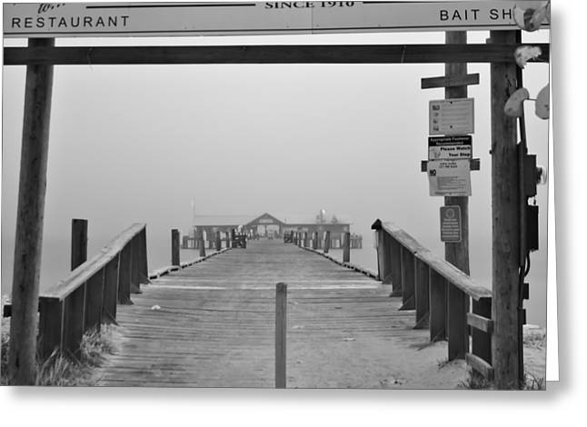 Historic Anna Maria City Pier In Fog Infrared 52 Greeting Card