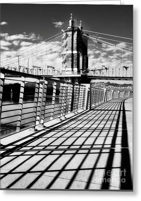 Greeting Card featuring the photograph Historic Bridge In Cincinnati Black And White by Mel Steinhauer
