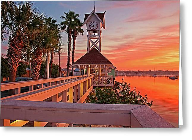 Historic Bridge Street Pier Sunrise Greeting Card