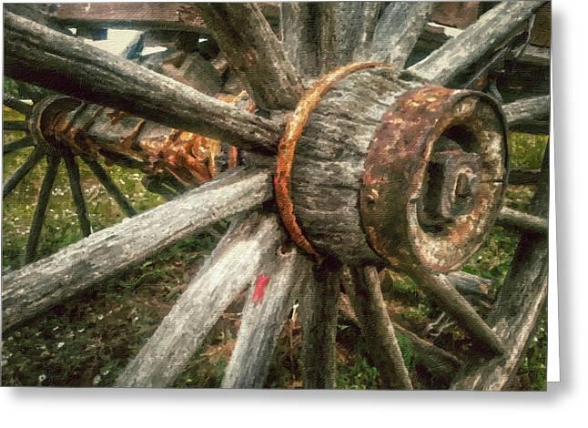 Historic Buckboard Wagon Wheel Greeting Card
