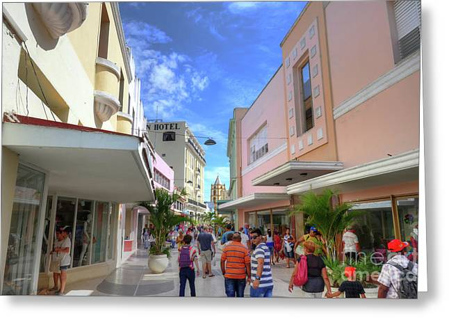 Historic Camaguey Cuba Prints Commercial Center Greeting Card by Wayne Moran