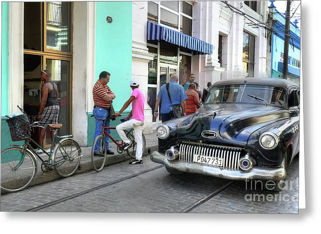 Historic Camaguey Cuba Prints The Cars 2 Greeting Card by Wayne Moran