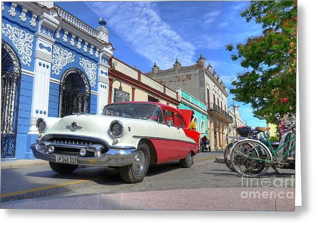 Historic Camaguey Cuba Prints The Cars Greeting Card by Wayne Moran