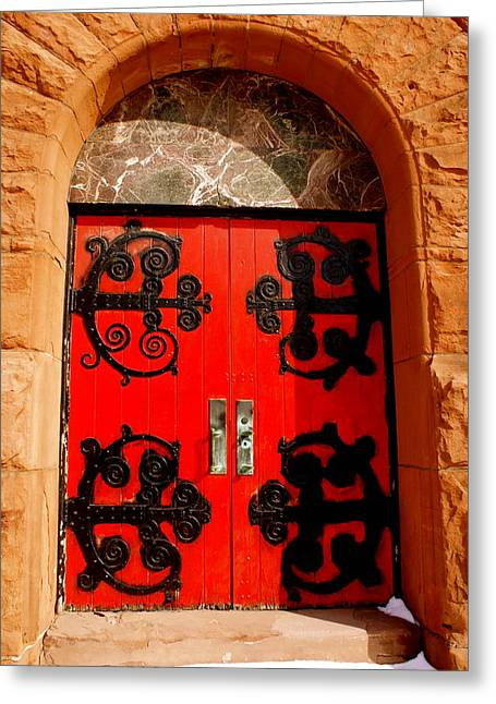 Historic Church Doors Greeting Card by Sonja Anderson