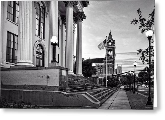 Historic Downtown Wilmington North Carolina In Black And White Greeting Card