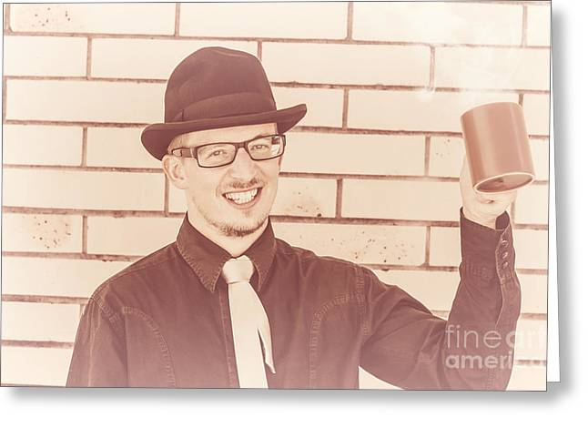 Historic Drinks Shop Man Greeting Card by Jorgo Photography - Wall Art Gallery