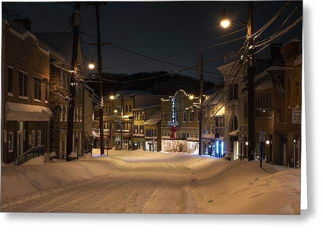 Historic Ellicott City In Snow Greeting Card