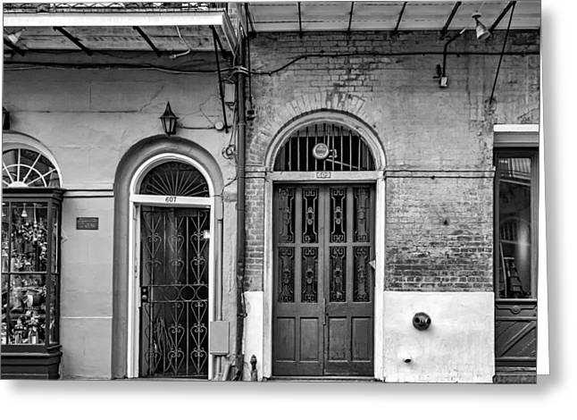 Historic Entrances Bw Greeting Card