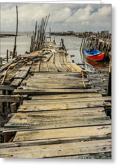 Historic Fishing Pier In Portugal I Greeting Card by Marco Oliveira