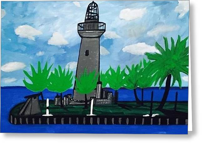 Historic Florida Lighthouse Painting. Original Greeting Card