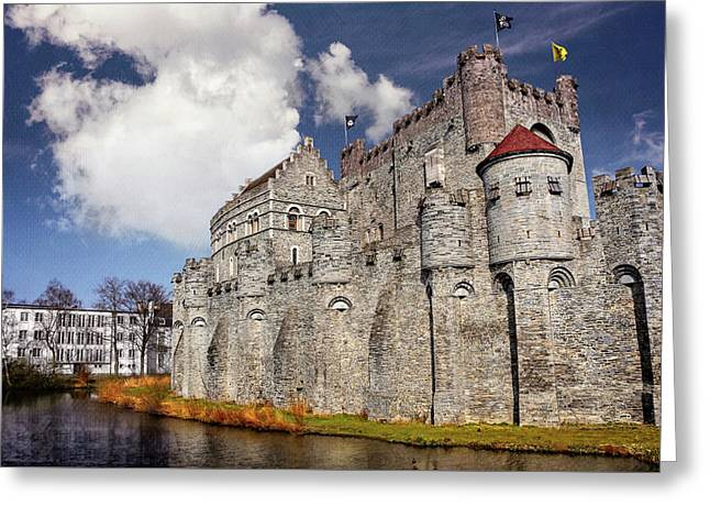 Historic Gravensteen Castle In Ghent  Greeting Card