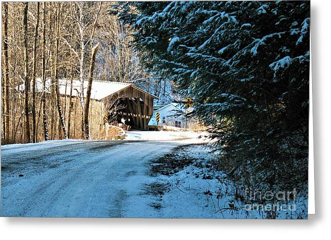 Historic Grist Mill Covered Bridge Greeting Card