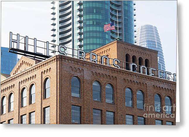 Historic Hills Brothers Coffee Building With Sign San Francisco Dsc5745 Greeting Card
