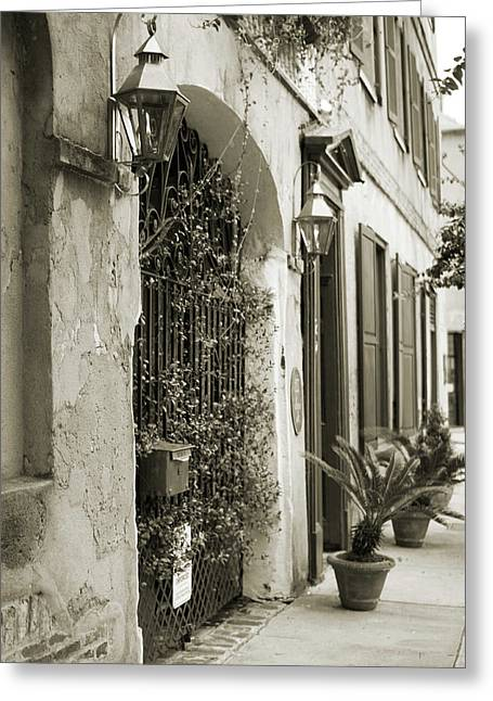 Historic Home Wrought Iron Gate Charleston Sepia Greeting Card by Dustin K Ryan
