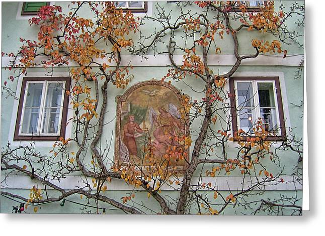 Historic House Facade In Bad Goisern Hallstatt Salzkammergut Aus Greeting Card